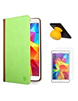 VanGoddy Mary Portfolio Multi Purpose Book Style Slim Flip Cover Case for Samsung Galaxy Tab4 T330/T331 8.0 (Green) + Bluetooth Suction Stand Speakers + Matte Screen