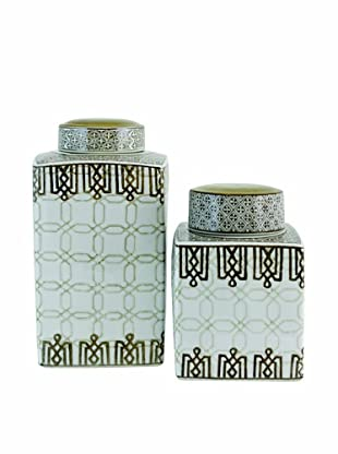 The Import Collection Set of 2 Morris Ceramic Jars, Off-White/Tan