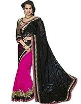 Sapphire Fashions Women's Black Chiffon Saree