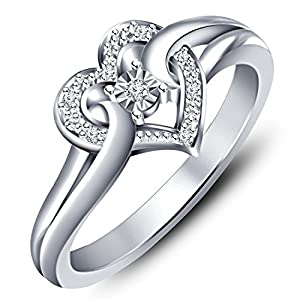 Vorra Fashion Platinum Plated 925 Silver Round - Cut CZ Heart Shape Promise Ring (12.0)