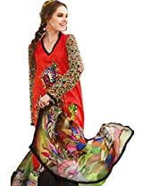 Red Colour Faux Chiffon Crape Semi Party Wear Paisley Printed Plazo Suit (Jinaam) 6472A