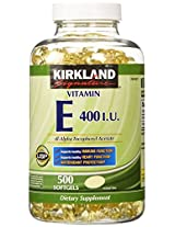 Kirkland Signature Vitamin E 400 I.U. 500 Softgels - Bottle
