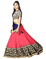 Vibes Women's 60gm Georgette Unstitched Lehenga Choli (L12 18003_Pink)