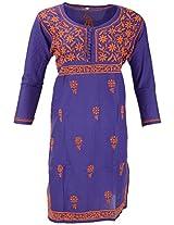 PR Chikans Women's Cotton Kurti (Pink, XX-Large)
