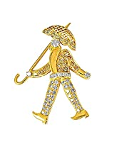 1.92ct White & Fancy colour Diamond Walking Man with an Umbrella Brooch