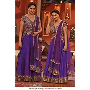 Bollywood Replica Madhuri Dixit Raw Silk and Shantoon Suit In Blue Colour NC583