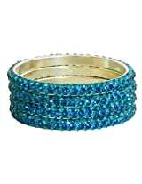 DollsofIndia Four Cyan Stone Studded Bangles - Stone and Metal - Blue
