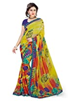 Surat Tex Yellow Georgette Wear saris with Unstitched Blouse