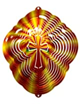 """Stainless Steel Wind Spinner, 12"""" Cross Red/Gold Printed"""