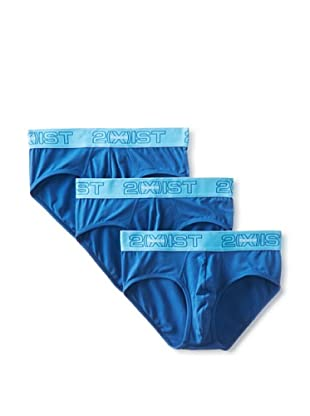 2(X)IST Men's Touch Contour Pouch No Show Briefs - 3 Pack (Capri/Jersey Blue)