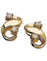 AG Yellow and White Silver Stud Earrings For Women (AG - AGSE0144)