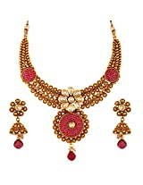 Antique Royal Pink Checker AD Kundan Necklace and Jhumki Earrings