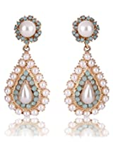 Cinderella Collection by Shining Diva Golden & White Crystal Drop Earrings for Women 7009er