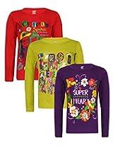 Sinimini printed full sleeve girls tshirt (pack of 3)