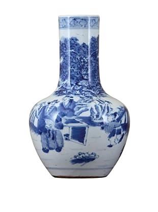 Oriental Danny Small Bulb Vase, Blue/White