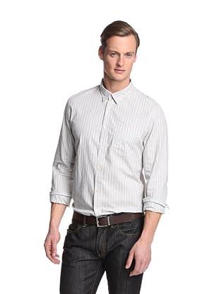 Façonnable Tailored Denim Men's Textured Stripe Slim Shirt (Dark Grey)