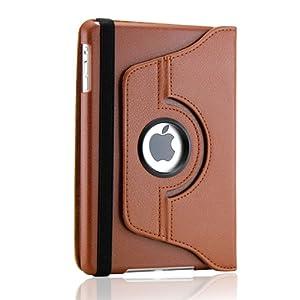 Gearonic 360 Degree Rotating PU Leather Case Smart Cover Swivel Stand for iPad mini, Brown (AV-5231NPUIB)