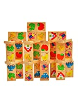 28Pcs Wooden Multicolor Animal Cartoons Domino Set for Kids Toddlers - Ages 3+ Years