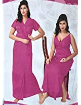 Indiatrendzs Womens Silk Satin 2pc set Nighty Fuchsia Sexy Bedroomwear freesize