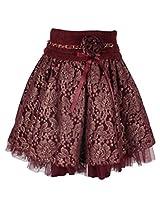 Cutecumber Girls Polyester Embellished Maroon Knee Length Skirt