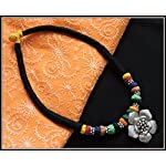 Black thread choker with flower pendant