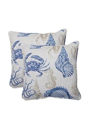 Pillow Perfect Set of 2 Outdoor Sea Life Marine Throw Pillows, Blue/Tan