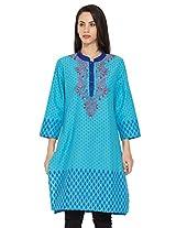 Dhwani Womens Cotton Aqua Kurti