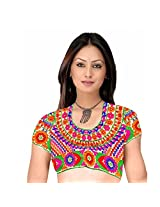 Fabfirki Cream With Multi color Embroidered Dupian Blouse
