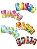 Rainbow & Plaid Patterns Water Nail Tattoo Transfers, Set of 5