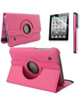 "New 360 Degress Rotating Stand PU Leather Case Cover / Screen Protector / Stylus for Samsung Galaxy Tab 2 7"" Tablet P3100/P3110 (3in1 Hot Pink)"