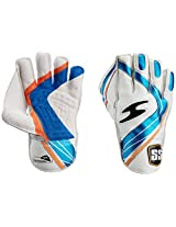 SS Professional Boy's Wicket Keeping Gloves (White/Blue)
