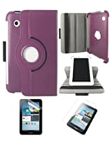 DMG Full 360 Rotating Book Stand Cover Case Pouch for Samsung Galaxy Tab 2 P3100 with Matte Screen protector+ DMG Wristband -Purple
