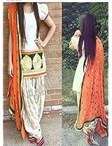Shree Fashion Woman's Cotton With Dupatta [Shree (19)_White]