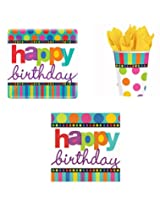 Happy Birthday Dots And Stripes Party Supply Pack For 8 Includes Plates, Cups & Napkins