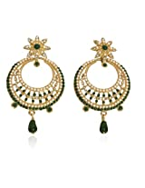 Touchstone Gold Plated with white pearl and green stone Earring - DGET-219-07AE-G