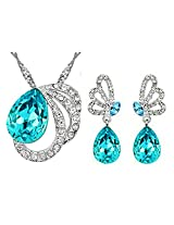 Eterno Fashions Elegant Capri Blue Austrian Crystal Pendant & Earring Set Pendant For Women