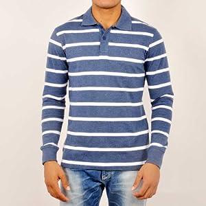 Van Heusen Men T Shirts Long Sleeve Blue Polo