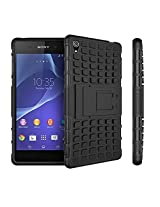 HIGAR Dual Armor For Xperia Z3 With Kick Stand Back Bumper Hard Cover Case For Sony Xperia Z3 Z 3- Black Color