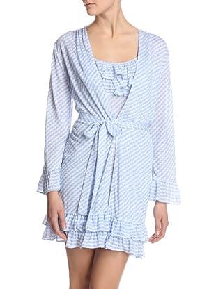 Oscar de la Renta Pink Women's Diamond Dots Short Robe (Blue Print)