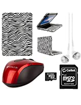 VangoddyTM Faux Leather Book Style Folio Protective Cover for Apple Macbook Pro 13.3-inch Laptops + White VanGoddy Headphones + Red USB Wireless Mouse + 16GB Memory Card (Zebra)