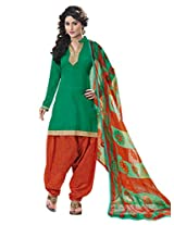 Inddus Women Green & Orange Cotton Satin Unstitched Dress Material