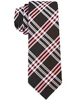 Scott Allan Men's 100% Silk Plaid Necktie - Black/Burgundy
