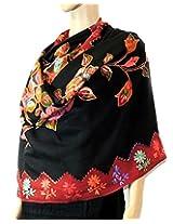 Indian Fashion Guru,Black, flower design, Embroidery stole, shawl