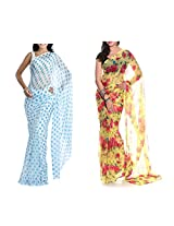 MemSahiba Women Semi-Chiffon Saree set of 2 (MS-1086-652)