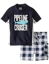 Osh Kosh Baby Boys' Pipeline Cruiser Rashguard Set, Navy, 12 Months