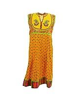 Handicraft Kottage Women's Cotton Yellow Sleeve Separate Kurti