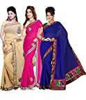 Ishin Combo of 3 Georgette Saree Combo 71