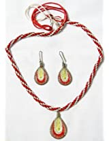 DollsofIndia Red,Yellow and Off White Designer Necklace and Earring Set - Thread - Saffron