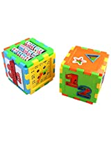PIGLOO Set of 2 Multi-Puzzle Cube Toy Block for Kids Ages 3+ Years