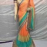 lycra designer Saree With blouse piece